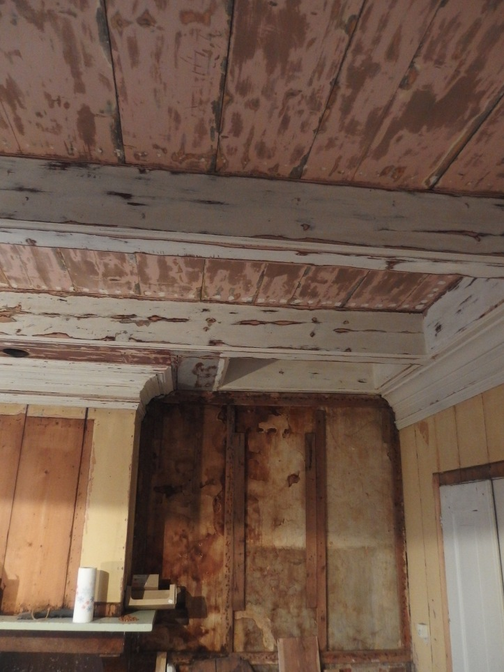 After taking away some damaged hardboard ceiling there were mant nail holes to fill.